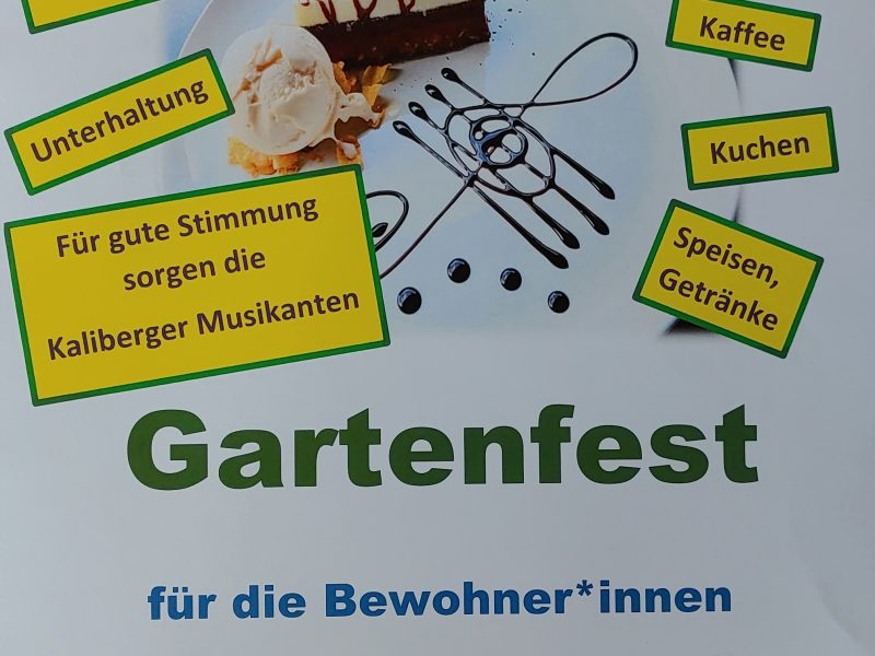 Am 18. Juni 2021 von 14.30 – 17.30 Uhr findet das Gartenfest für die Bewohner*innen im Garten statt. Die Bewohner*innen können sich auf ein buntes Programm freuen mit musikalischer Begleitung der Kaliberger Musikanten die stimmungsvolle Lieder präsentieren.